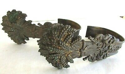 Pair of Antique Brass Wheatsheaf Curtain Tie Backs - Ornate Victorian - 1844