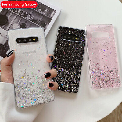 For Samsung Galaxy S10 S9 S8 Plus Bling Glitter Clear Gel Soft Phone Case Cover
