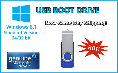 Windows8.1 Pro 32/64Bit Install & System Recovery Tools on USB or Disk latest!!