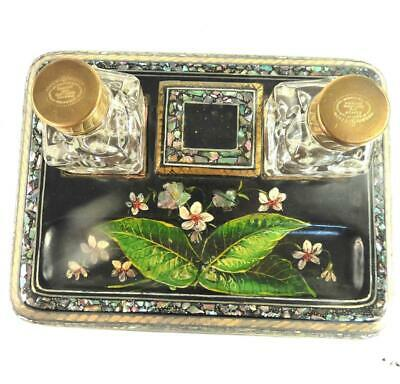 Antique Victorian Papier Mache & Mother Of Pearl Inkstand Inkwell