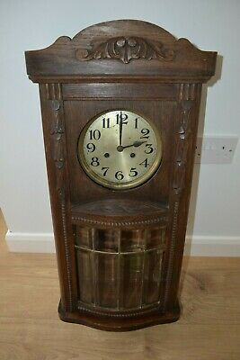 German Striking Antique Oak Wall Clock Bevelled Glass Panels