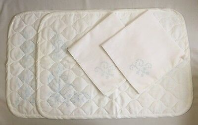 Set 2 Stamped Cross Stitch Placemats & Napkins White Quilted Embroidery 2209F