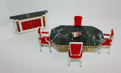 Vtg Dollhouse Ideal Petite Princess Dining room table chairs & Buffet