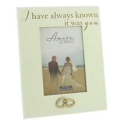 Wedding Amore photo frame 4 x 6 inch with gold and crystal rings