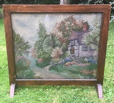 Antique~Vintage Tapestry~Needlepoint~Wooden Fire Screen
