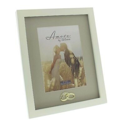 Wedding photo frame 5 x 7 inch with  gold and crystal rings