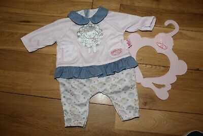 """*Adorable* Zapf 18"""" Baby Annabell Pretty Dolls Clothes Sleep Suit Onsie & Hanger"""