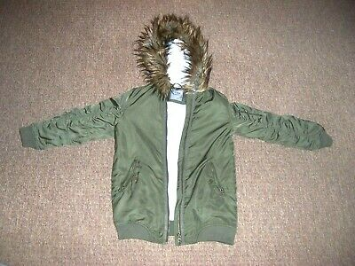 Next girls age 9 years winter jacket hooded coat khaki green parka