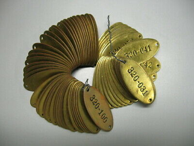 10 Vintage Brass Tags, Locker Tags - Sequential, Industrial, Steampunk - Unused