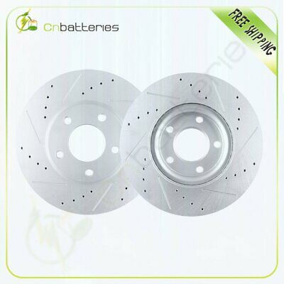 A0808 FIT 2010 2011 2012 Mazda 3 2.0L FRONT Drilled Brake Rotors Ceramic Pads