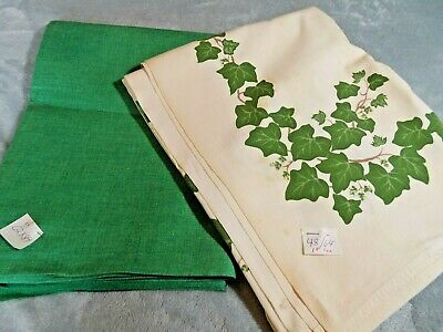 """2 Vintage TableClothes  NOS Solid Green, 62 x 84"""" & Ivy Print, 48 x 64"""", Stains"""