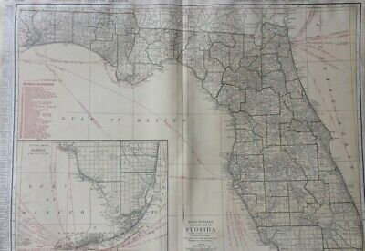 c1921 Florida State Map RR from Rand McNally Commercial Atlas of America