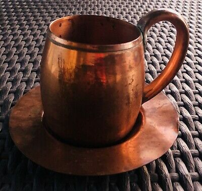 Vintage West Bend Aluminum Co. Solid Copper Mug And Saucer 1960s USA Made