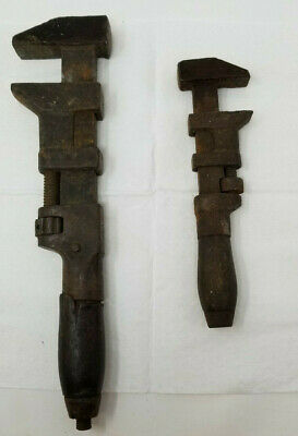 "Set of 2 PS&W Co Monkey Pipe Wrench Cleveland Wood Handle Vintage 12"" 8"" Antique"