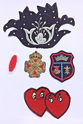 lot 5 vintage sew-on patches appliqués embroidered flower crest heart metallic