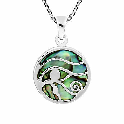 Ancient Symbol Eye of Horus Abalone Shell Inlay .925 Sterling Silver Necklace