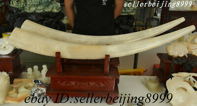 Old China 100% Natural Afghan Jade Stone Carving Big Tusks Fengshui Statue Pair