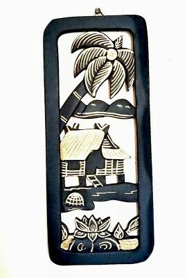 Wood Carved Wall Hanging Panel Asian Thai Art Rustic Farmhouse Elephant Coconut