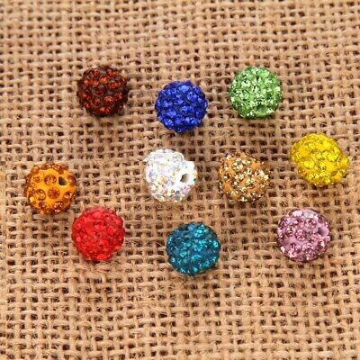 20PCS Jewelry Making Spacer Loose Beads DIY Crystal Disco Round Ball 8/10mm