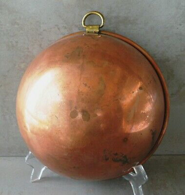 "Antique/Vintage 8.25"" dia. Solid Copper Round Bottom Mixing Bowl with Brass Ring"