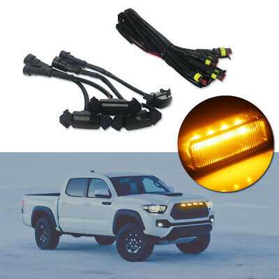 Raptor Style Smoked Lens Front Grille Amber Lighting Kit For 16-up Toyota Tacoma