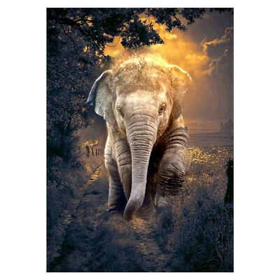 Elephant 5D DIY Full Drill Round Diamond Painting Embroidery Art Home Decor AU