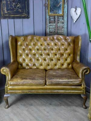 Mid Century English leather chesterfield sofa