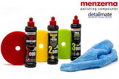 menzerna Set HCC 1000 MCP 2500 FF 3000 + WAX FOAM PAD soft medium heavy + Tuch