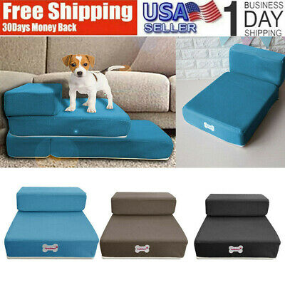 Dogs Breathable Mesh Foldable Pet Stairs Detachable Pet Bed Stairs Ramp 2 Steps