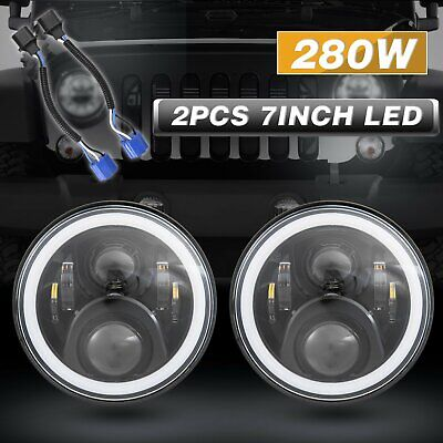 "2x 7""inch Round LED Halo Angle Eyes Car Headlights for Jeep Wrangler TJ/LJ/CJ/JK"