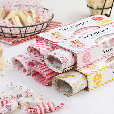 50Pcs Wax Paper Grease Food Wrapping Paper For Bread Sandwich Oilpaper Baking~GN