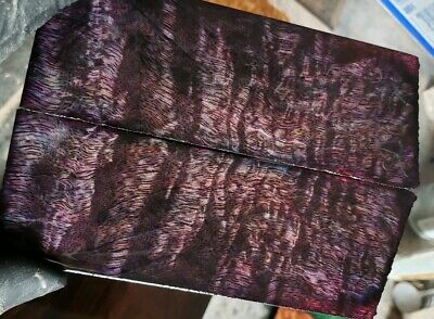 Stabilized purple curly mango exotic wood scales. knife blank for Crafts 1911