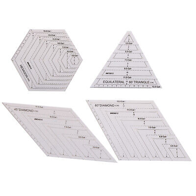 Quilting Patchwork Ruler Triangle Rhombus Hexagon Acrylic Template Sewing T~GN