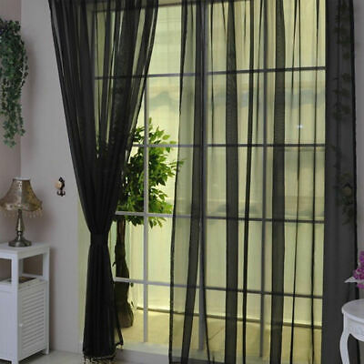 1 Pair BLACK Lucy Slot Top Plain Voile Curtain Panel Washable - Net & Voile