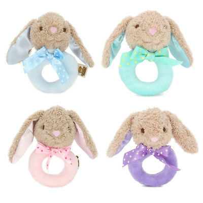 Baby Rabbit Plush Rattle Ring Bell Toddler Musical Soft Plush Toy Soft Dolls~GN