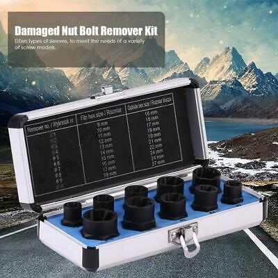 10pcs Damaged Nut Bolt Remover Kit Stud Extractor Broken Bolt Screw Remover Tool