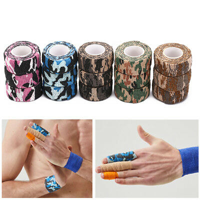 3Pcs 4.5M Camouflage Tape Self-Adhesive Wrap Non-Woven Stretch Bandage n~GN