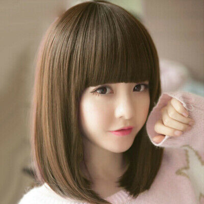 Short Lace Front Human Hair Straight Bob Natural Wig Lace Frontal Wig Pre~GN