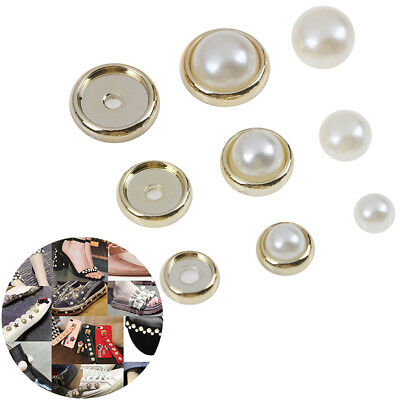 100*Imitation pearls with rivets studs leather bag shoes clothes DIY decor ~GN