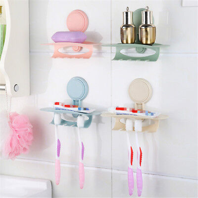 Wall-mounted sucker Suction Cup toothpaste toothbrush Hanger holder rack#stor~GN