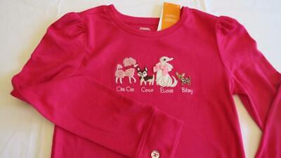 Gymboree Parisian Chic brown french poodle top NWT girls size 6 shirt pink dog