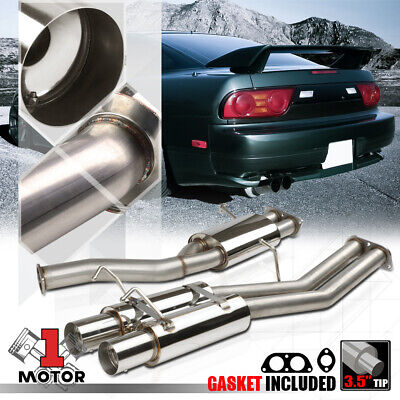 "3.5/""Dual Tip Catback Exhaust System+Removable Silencer for 1989-94 Nissan 240SX"