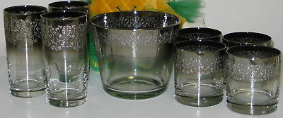 MCM Vitreon Queen's Lusterware Silver Fade Ombre Barware Set Dorothy Thorpe Styl