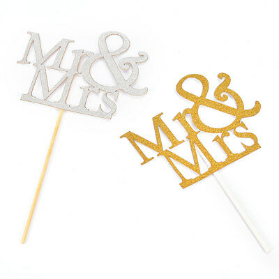 Mr&Mrs Romantic Silver Shiny Cake Topper Wedding Party Top Letter Decor ~GN
