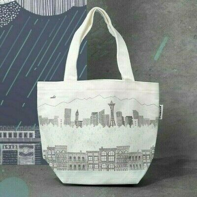 BNIB 2019 Starbucks Seattle Emerald City Illustration Lunch Canvas Tote Bag SG
