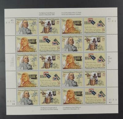 Us Scott 2779 - 2782 Sheet Of 20 National Postal Museum Stamps 29 Cent Face Mnh