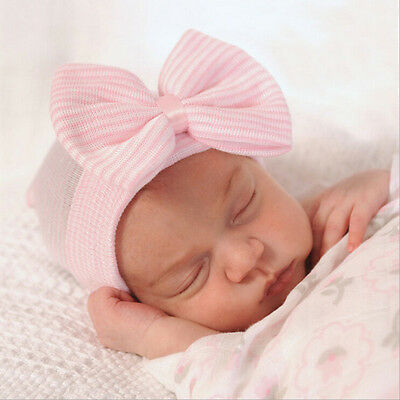 1X Newborn Baby Infant Girl Toddler Comfy Bowknot Hospital Cap  Beanie ~GN