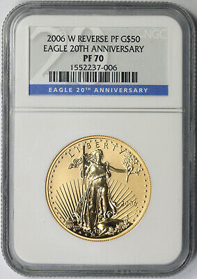 2006-W American Gold Eagle 20th Anniversary $50 1 oz Reverse Proof Rev PF 70 NGC