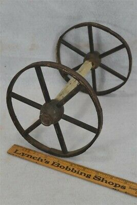 wheels pr wooden hand made toy cart wagon buggy antique early 19th c 1800