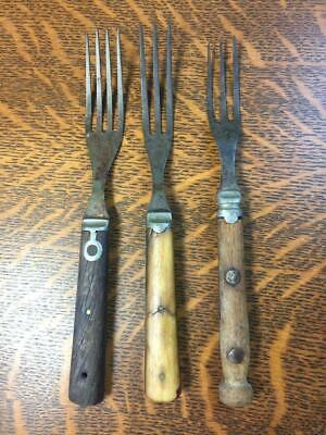 Lot of 3 Antique Civil War Era 1850s Forks Three Prong Pewter Wood Bone Handle